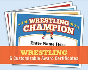 Wrestling award certificates button