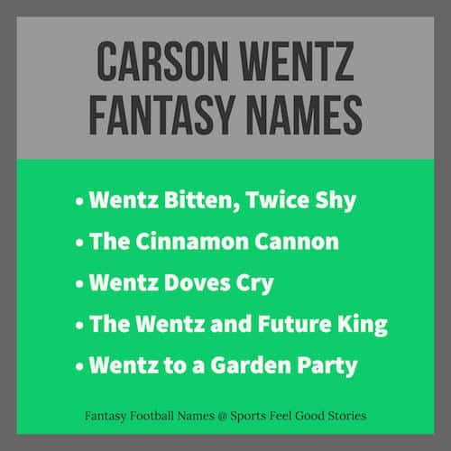 Carson Wentz Fantasy Football Names Cool And Funny