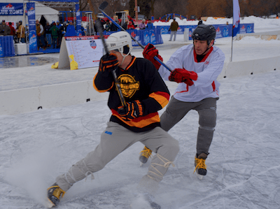 pond hockey action shot