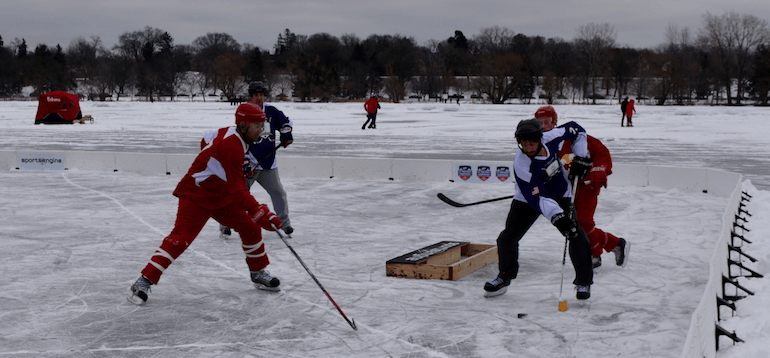 pond hockey in Minnesota image