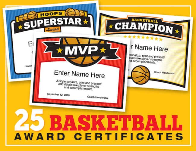 Elite Basketball Certificate Templates image