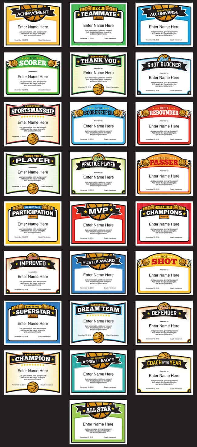 Cool basketball certificates image