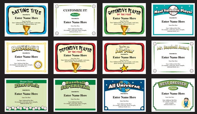 baseball certificates - award templates