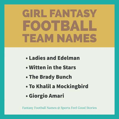 Girl Fantasy Football Team Names | Good, Cool and Funny