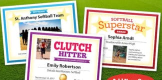 softball photo certificates image