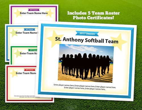 softball team photo certificate image