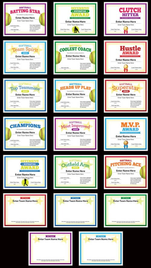 softball certificates with photos grid