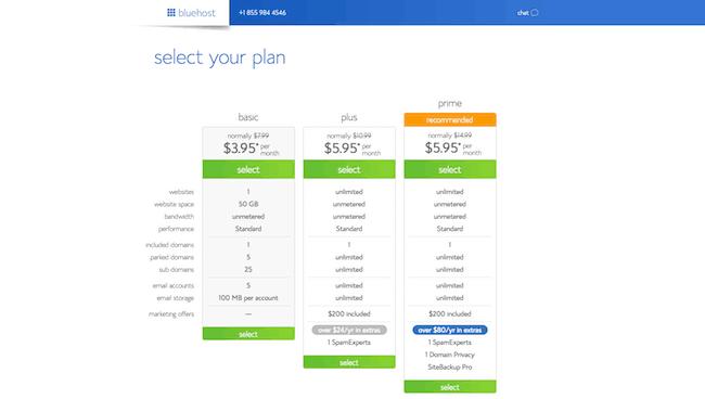 Bluehost plans selection menu image