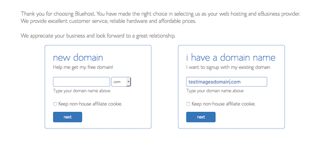 domain name at bluehost image