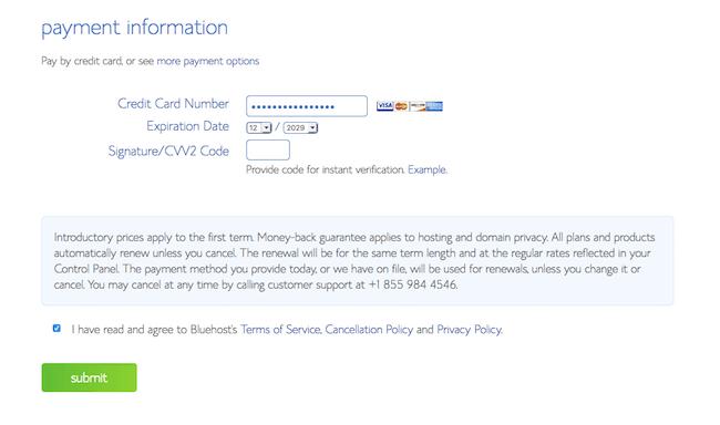 5 Payment Information screenshot