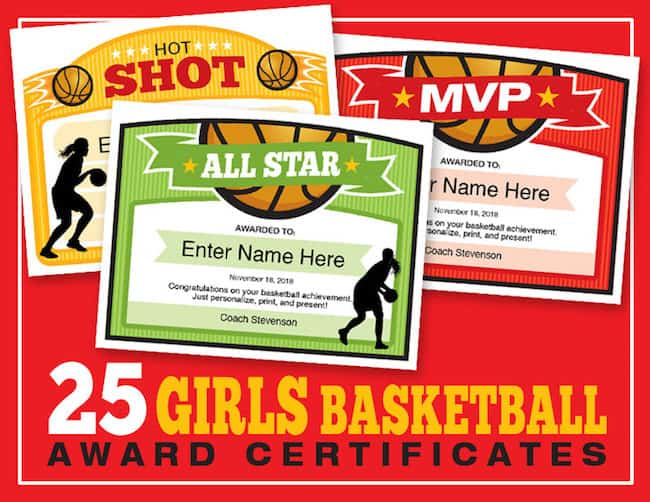 Girls Basketball Certificate Templates image