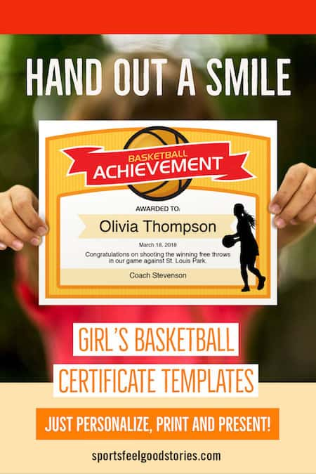 girls basketball certificate in use image