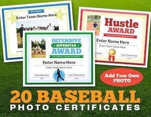 award certificate photo for baseball image