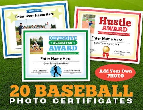 Baseball Photo award certificates image
