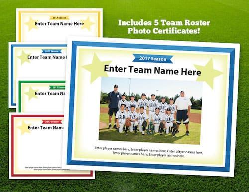 baseball team photos on award certificate image