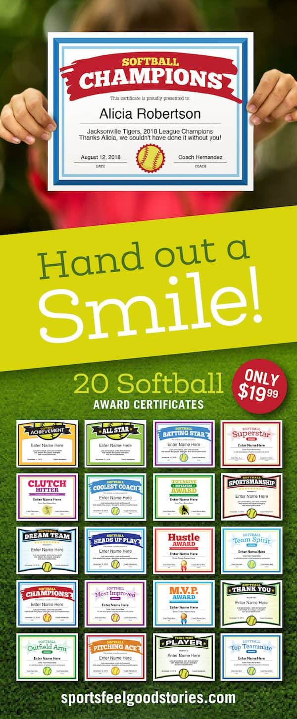 softball certificates ad image