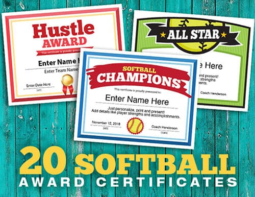 softball team award certificates