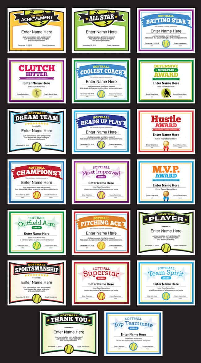 softball award certificate template grid image