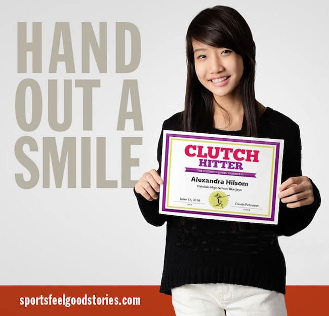 Softball hand out a smile ad image