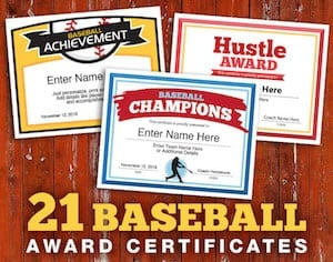 baseball certificate templates for team image
