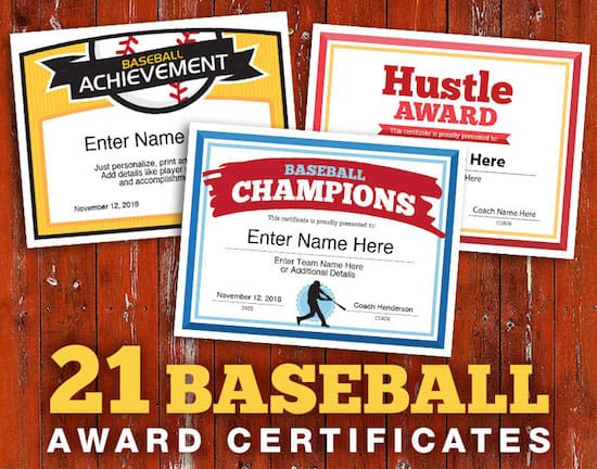 baseball team certificates image
