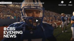 homecoming queen kicks winning field goal image