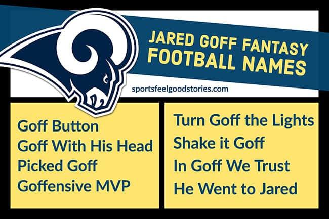 Jared Goff fantasy football names image