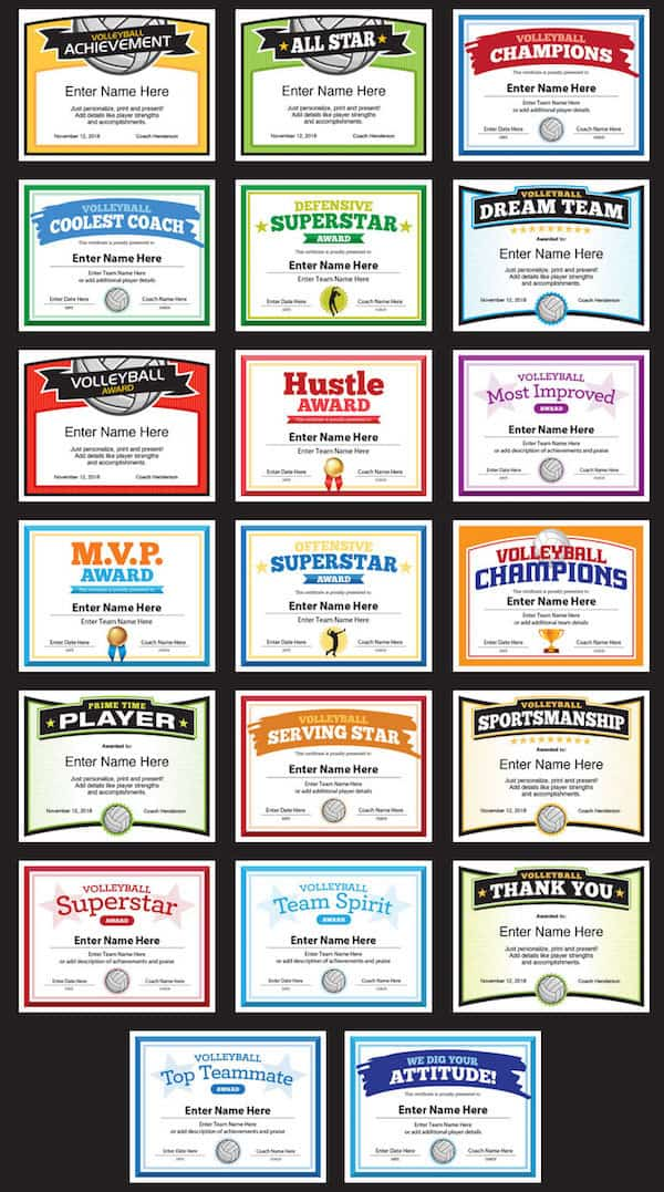 cool volleyball certificates grid