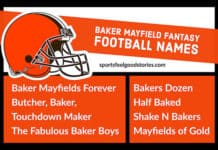 Fantasy football team names for Baker Mayfield image