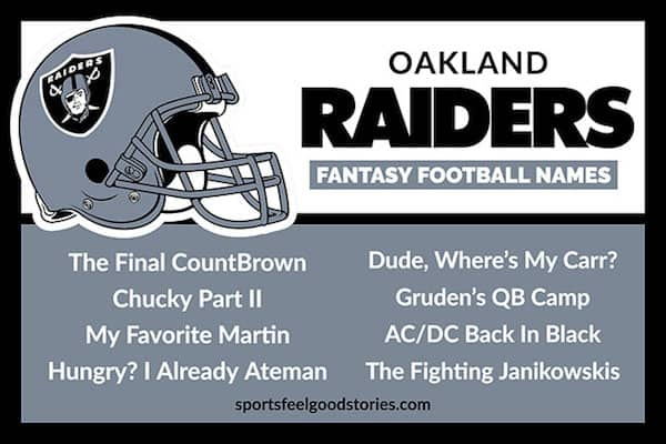 2020 Best Fantasy Football Names Raiders Fantasy Football Names   Sports Feel Good Stories