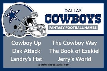 Dallas Cowboys fantasy football team names button