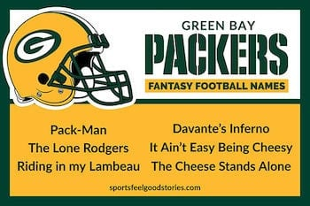Green Bay Packers fantasy football team names button