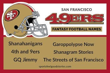 San Francisco 49ers fantasy football team names button