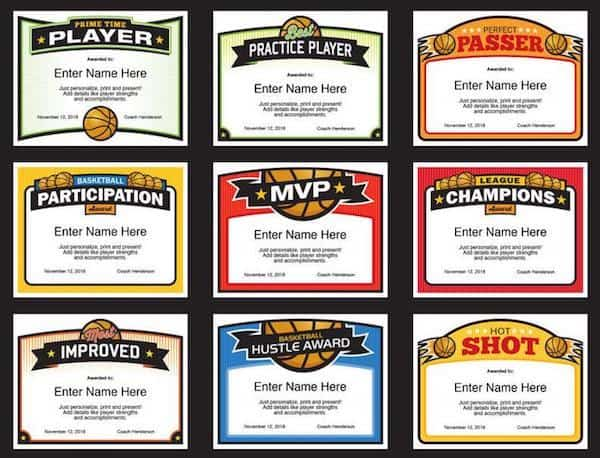 Elite Basketball Certificates A image