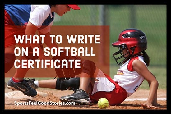 What to write on a softball certificate image