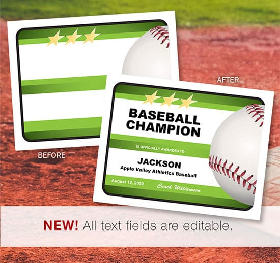 editable baseball certificates for awards image
