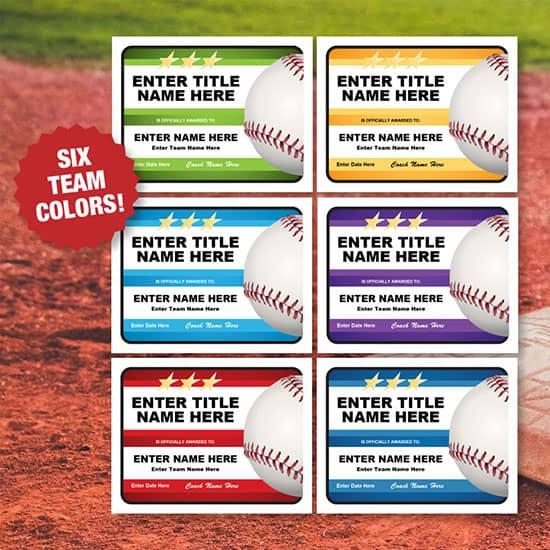 Coach's baseball award certificates image