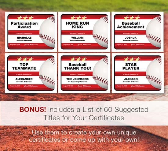 baseball award certificates titles ideas image