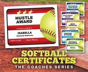 Editable softball certificates button image
