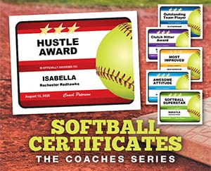 Editable softball certificates button image