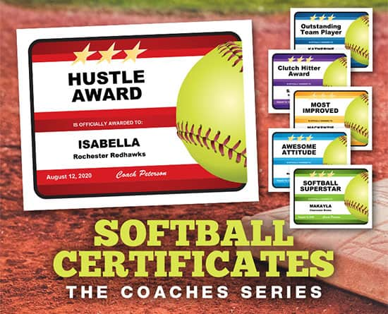The Coaches Series Softball Certificates image