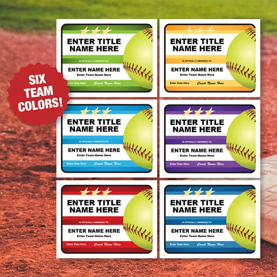 Multiple colors certificates for softball image