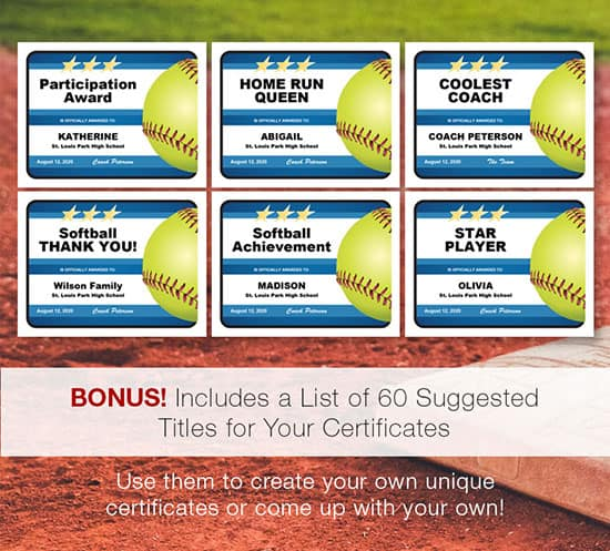 You choose the title softball award certificate image