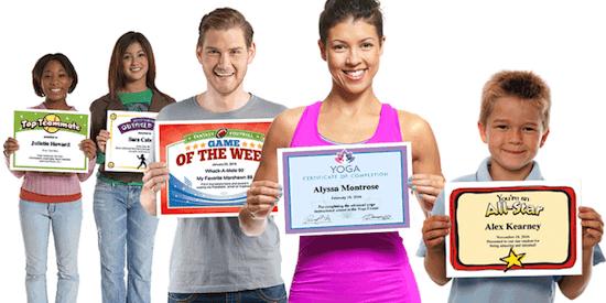 Personalizable award certificates image