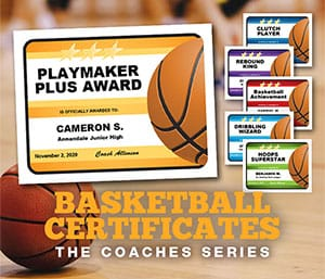 basketball editable certificates templates image