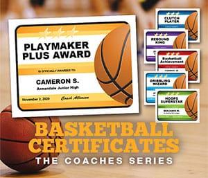 basketball editable certificates templates image
