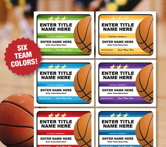 A variety of colors in basketball certificate templates image