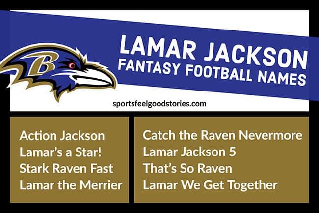 Lamar Jackson fantasy football team names image