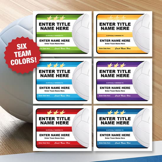 Six colors certificates for volleyball image