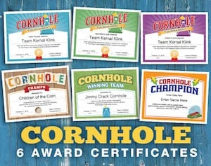 Cornhole Award Certificates bundle image